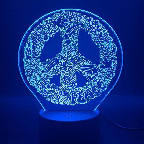 SHJDY Doodle Pace-Piccola nachtlampje, 3D-slaaplicht, flitslicht, afstandsbediening, USB-voeding, geschikt voor decoratie van Della Stanza, cadeau voor kinderen