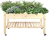 Z-DYQ Raised Garden Bed Garden Bed Rectangular Wooden Planter Garden Bed Raised Bed with Lockable Wheels for Vegetables and Flowers 57.5 x 122 x 76.5 cm