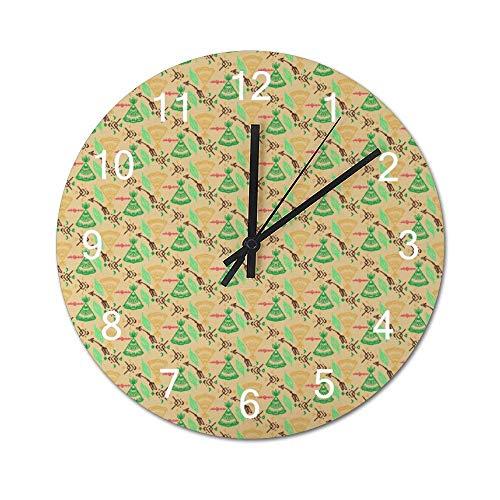 Reloj de pared de madera redondo rústico silencioso sin tictac de 10 pulgadas Mandala Bohemio Boho Arreglo paralelo Diseño gráfico Decoración de pared de granja vintage para el hogar, la oficina, la e