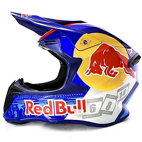 Casco motocross, casco motocross giovanile, casco motocross professionale, certificazione DOT, casco mtb integrale, adatto per adulti e bambini Red Bull (black, M=57-58CM)