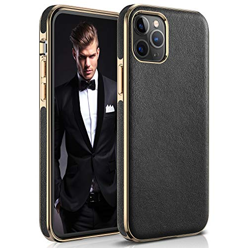 """LOHASIC Leather Case for iPhone 12 Pro Max, Luxury Slim PU Soft Flexible Bumper Rugged Grip Anti-Scratch Shockproof Protective Cover Phone Cases Compatible with iPhone 12 Pro Max 6.7"""" (2020) - Black"""