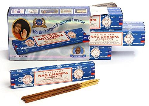 Satya Sai Baba Nag Champa Agarbathi Sehr lange Räucherstäbchen, 15 g, 12 Packungen