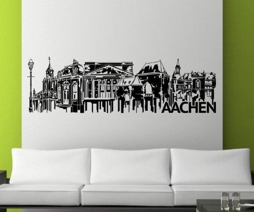 Wandtattoo Aachen Skyline Aufkleber City XXL Stadt Wandbild Deutschland 1M513, Farbe:Schwarz Matt;Skyline Länge:120cm