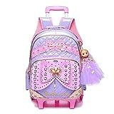 AXUHENGO Niños Niñas Trolley Mochila escolar Equipaje Mochilas de libros con ruedas Mochila Las últimas mochilas escolares extraíbles para niños con 2 ruedas Escaleras purple2wheels