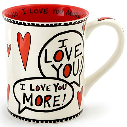 6b38da549f9 Enesco 4056352 Love You Most Stoneware Mug 16 oz Red