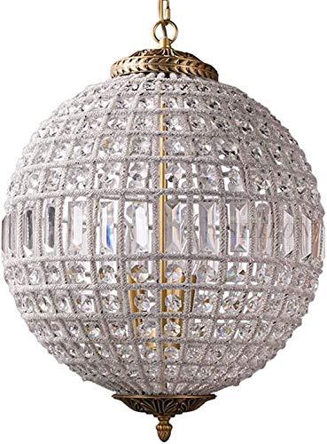 CX Lujas de Lujo Ajustable Colgante de Araña de Iluminación, Palacio Francés Cristal Orb Chandelier E14 Vintage Luces de Techo Industriales para Sala de Estar Comedor-Bronce 30 cm s
