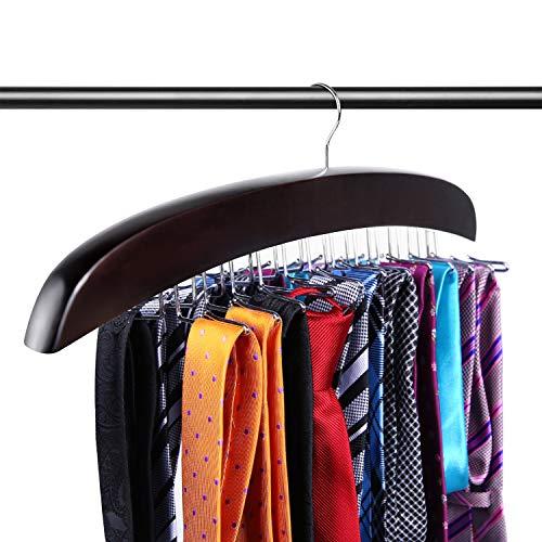 Ohuhu Tie Rack, Tie Hangers for Men, Tie Organizer for Closet, Tie Holder Travel, Twirl Wooden 24 Tie Hanger for Necktie Scarf Closet Organizer Storage, Walnut