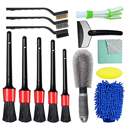 14 Pcs Auto Reinigung Pinsel Set, Auto Detailing Bürsten Set mit Felgenbürste, Auto Reinigungswerkzeug für Waschen Alufelge, KFZ, LKW, Motor, Auto Interieur und Exterieur