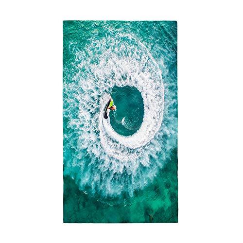 Surwin Grande Toalla de Playa de Microfibra Toalla Impresión de Tabla de Surf Secado Rápido Natación Toalla de Arena Antiadherente para Playa, Piscina, Verano (Océano Verde,80x180cm)