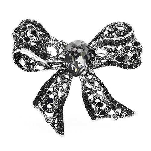 Broche de nudo de lazo de cristal brillante Insignia de invierno para mujer Regalo-Negro
