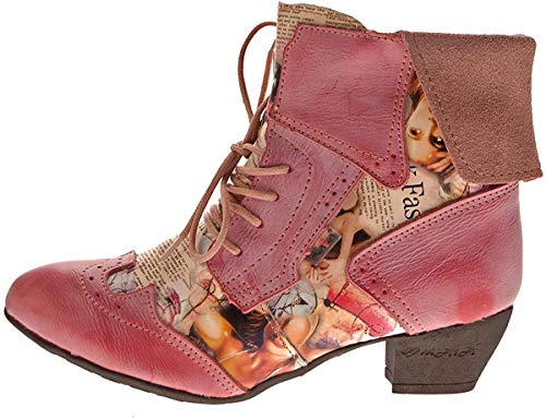 TMA Damen Stiefeletten Echtleder Comfort Boots Leder Halb Schuhe 6188 Rot Gr. 36