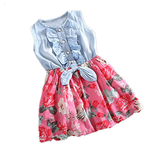 Tonwalk pour 0-3 Ans Enfant Bébé Filles Robe, Denim Bowknot Robes de mariée Princesse (3-4T, Rouge)