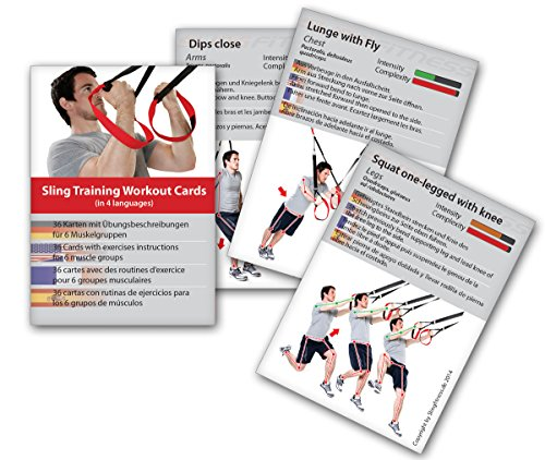 Sling Trainer Trainingskarten 54 Übungen, Premium Sling Training Kartenspiel, Suspension Trainer Übungen Trainingsplan Workout Fitness-Karten