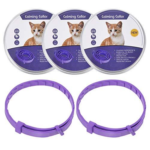 POPETPOP 5 Piezas de Collares Calmante Párr Gatos Ajustable Calma Y Relajación Sus Collares de Gato Púrpura