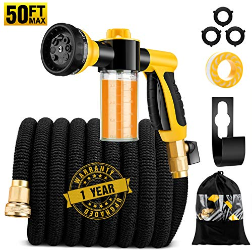 """50ft Expandable Garden Hose, Kink Free Leakproof Water Hose with Soap Dispenser Bottle and 8 Function Spray Nozzle, Flexible Hose with Double Latex Core and Super Strength 3/4"""" Solid Brass Connector"""