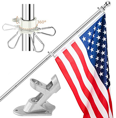 Harrms 6 FT Flag Pole Kit for House, American Flag Pole Bracket, Outdoor Wall Mount Stainless Steel Flagpole with Rotating Rings, Use for Backyard Garden Yard Truck Decoration
