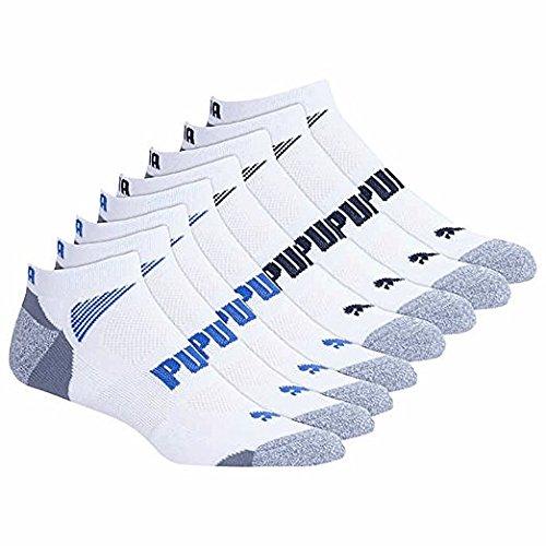Puma Mens No Show Socks, White (8-Pack)