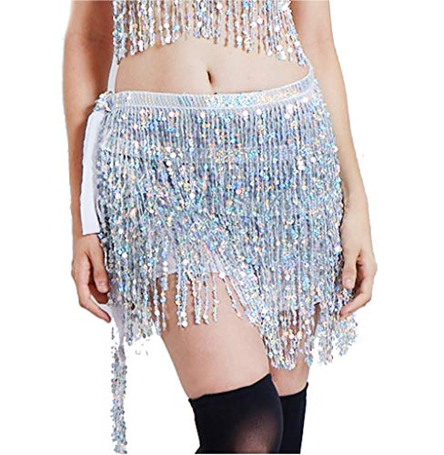 Lauthen.S Women Belly Dance Hip Scarf Sequin Tassel Beach Wrap Skirt,Silver