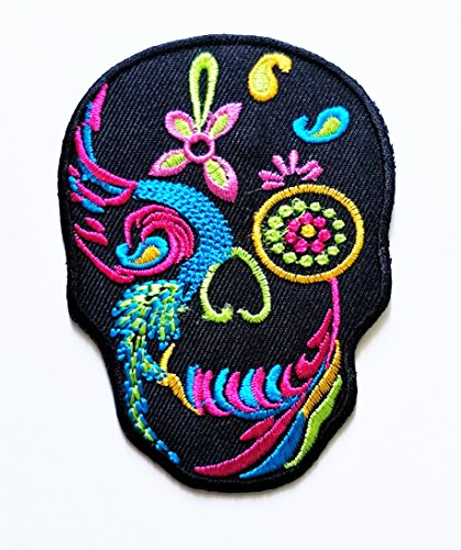 HHO Black Flower Sugar Skull Rider Biker Motorcyle Bike Novelty Patch Embroidered DIY Patches Cute Applique Sew Iron on Kids Craft Patch for Bags Jackets Jeans Clothes