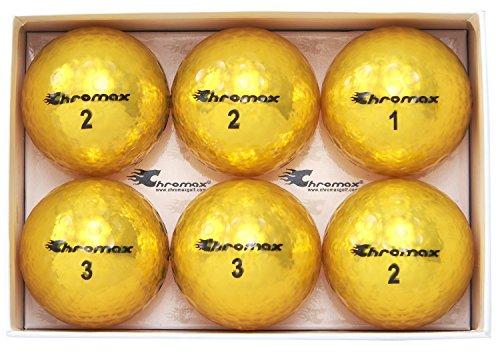 Chromax Metallic M5 Colored Golf Balls (Pack of 6), Gold