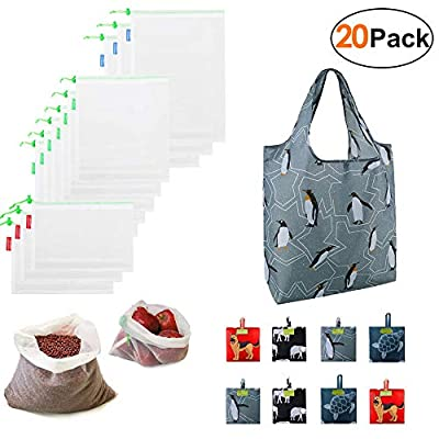 Reusable Produce Bags 12 Pack Grocery Bags 8 Pack Zero Waste Eco Friendly Mesh Bags Foldable Cloth Groceries Gift Totes Easily Folding into Storage Pouch Reusable Bag for Shopping Trip