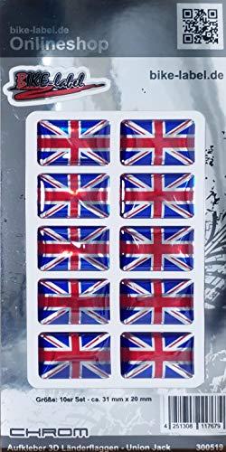 Bike Label 300519N - Pegatina en 3D (31 x 20 mm), diseño de Bandera de Reino Unido
