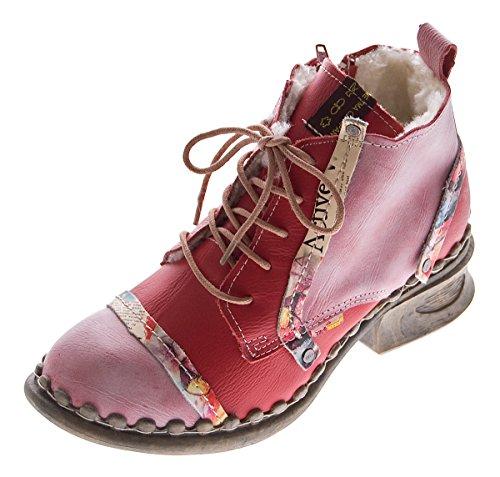 Leder Damen Stiefeletten Comfort Winter Knöchel Schuhe TMA 5355 Stiefel Rot Boots Gr. 39