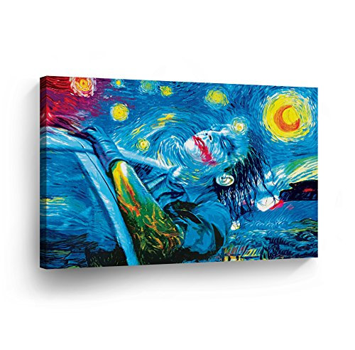 Joker Oil Painting Van Gogh Starry Night Canvas Print Wall Art Decorative Home Decor Poster Artwork Framed and Stretched- Ready to Hang -0 Handmade in The USA - 24x36