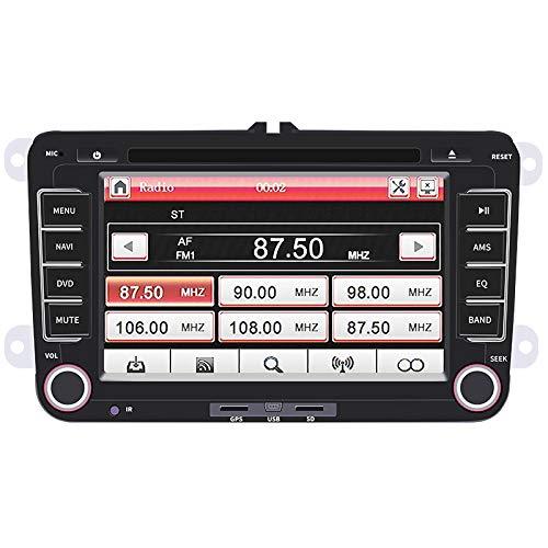 MSG ZY Auto multimediaspeler voor Volkswagen Series, Double Din Bluetooth DVD/CD//WiFi/FM Auto Stereo Ontvanger met 7-Inch 1080P Touch Display en GPS navigatiesysteem