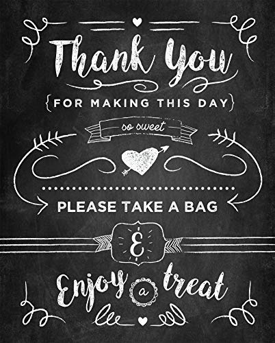 "Kraftystuff Candy Buffet Sign Thank You for Making This Day so Sweet - Candy Bar Sign Poster Print 8""x10"" on 110 lb. Cardstock - Chalkboard Style Print - Frame-able"