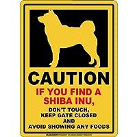 CAUTION IF YOU FIND マグネットサイン:柴犬(スモール)イエロー 注意 DON'T TOUCH 触れない/触らない KEEP GATE CLOSED ドアを閉める 英語 防犯 アメリカンマグネットステッカー