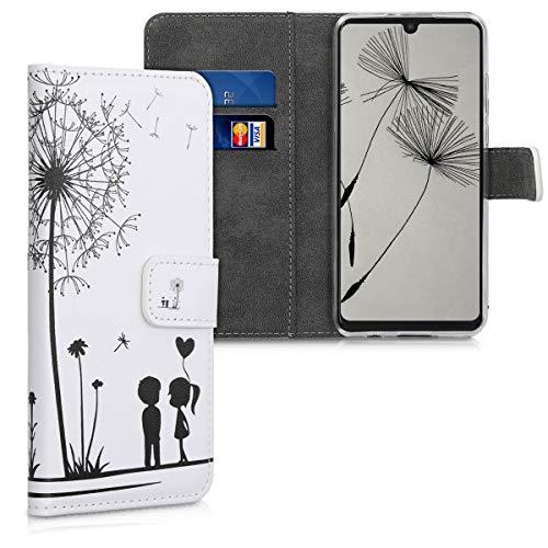 kwmobile Hülle kompatibel mit Huawei P30 Lite - Kunstleder Wallet Case mit Kartenfächern Stand Pusteblume Love Schwarz Weiß