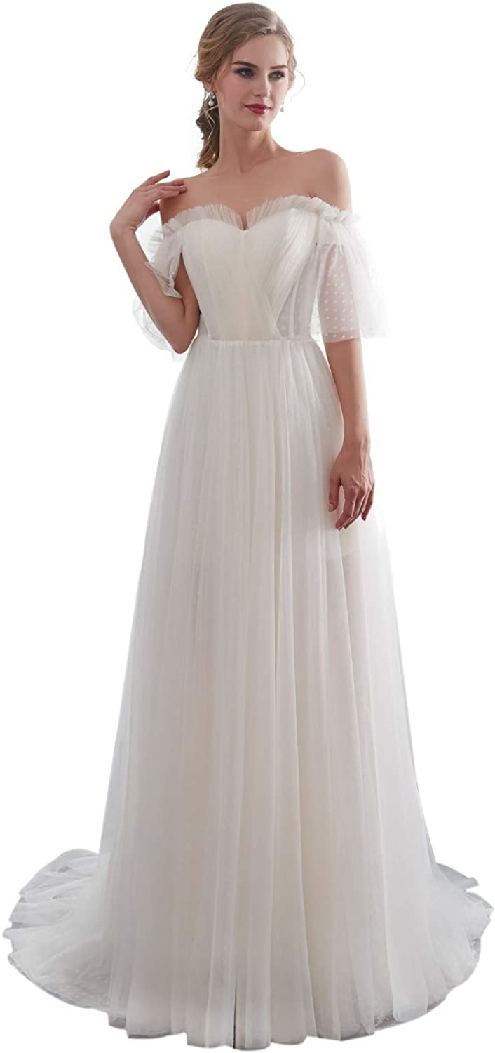 Darcy74Dulles Women's Simple Boat Neck Wedding Dress Half Sleeve 2018 Gowns Bridal Dresses