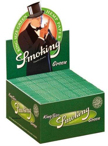 1 Box Smoking® GREEN Slim King Size Papers 50 x 33 Blättchen Hanf Grün Original®