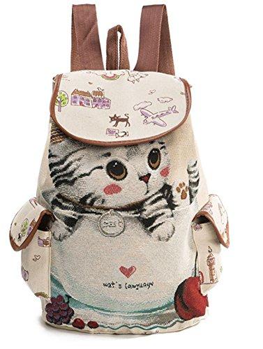 Damen Süß Katze Leinwand Rucksack Jugendliche Mädchen Canvas Schulrucksack Teenager Rucksack für Schule Outdoor Reise c