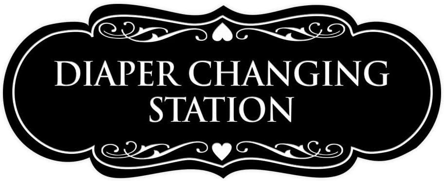 Signs ByLITA Designer Diaper Changing Station Sign(Black) - Small