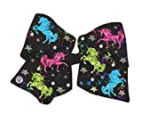 Jojo Siwa Signature Collection Cheer Bow for Girls, Large Hair Bow with Unicorn Print, Black