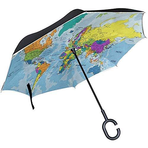 Ombrello inverso Ombrello inverso Colorato Mappa del Mondo Ombrello invertito Reversibile per Golf Car Travel Pioggia Outdoor Nero