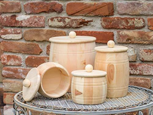 Vorratsdose aus Zirbenholz mit Holzdeckel, Größe M, 1000ml Füllmenge für Getreide, Mehl, Reis, Nudeln uvm. Handgefertigt in Österreich