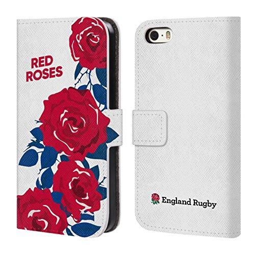 Head Case Designs Official England Rugby Union Rojo La Rosa 2 Carcasa de Cuero Tipo Libro Compatible con Apple iPhone 5 / iPhone 5s / iPhone SE 2016