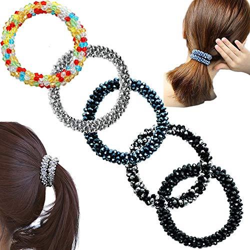 5 Pack Women Crystal Beaded Hair Bands Coil, Pearl Beads Hair Ring, Scrunchie Ponytail Holders Elastic Ties Rope for Girls (Black Set)