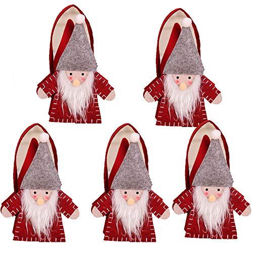 Bolsa de asas, bolsa de regalo de dulces navideños, tela de fieltro de bosque no tejida hecha a mano, bolsa de regalo de decoración navideña, linda bolsa de asas pequeña, canasta para niños