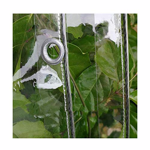 Tarpaulin LJIANW Heavy Duty Glass Clear Tarps Waterproof Rainproof For Greenhouse Garden Plant Awning Plastic Cloth Balcony Rain Curtain With Grommets,20 Sizes (Color : Clear, Size : 2x0.4m)