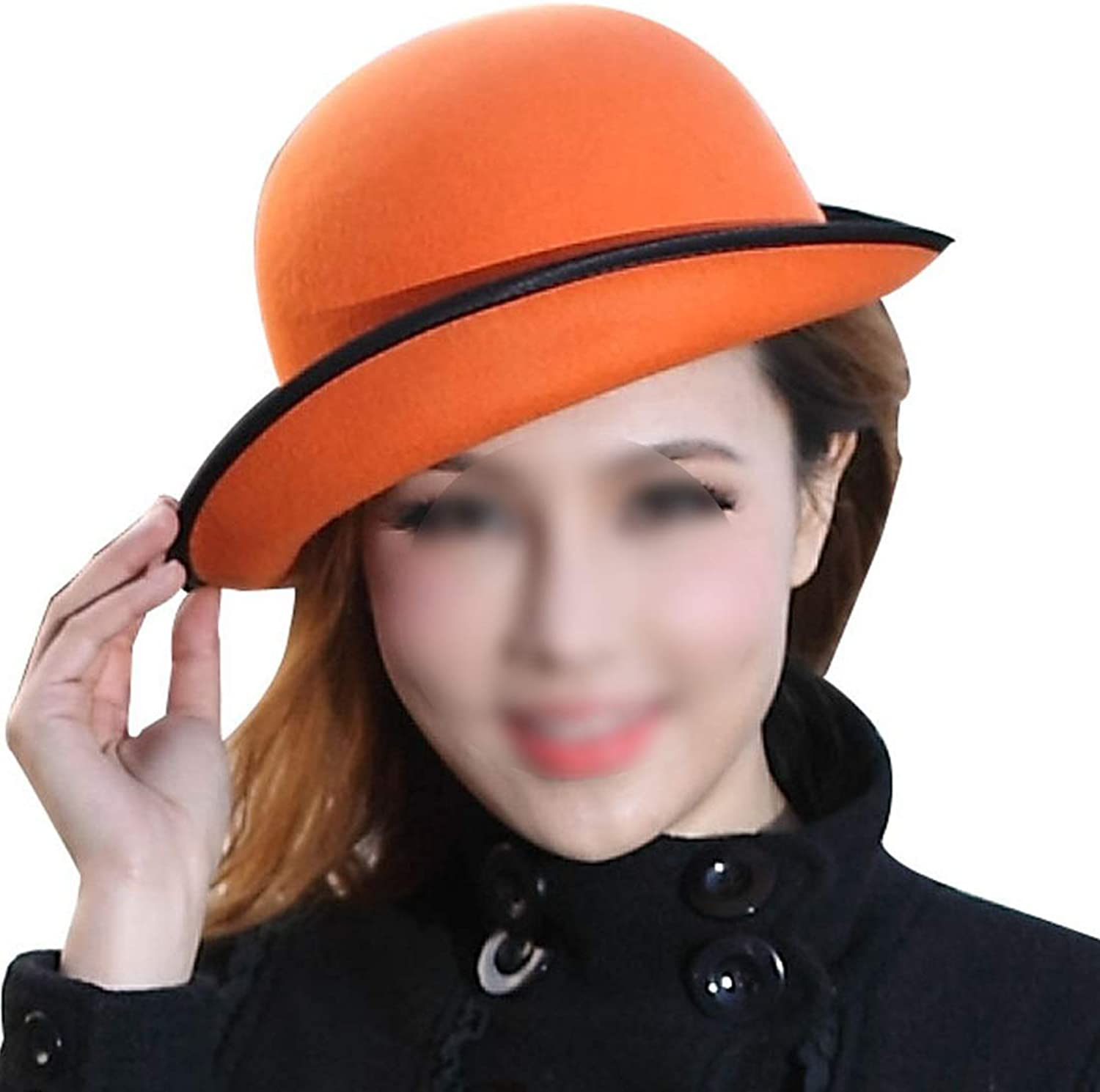Coiled Small Felt Hat with A Pure color and Wide Brimmed Hat in The Spring and Autumn Season Cap (color   orange)