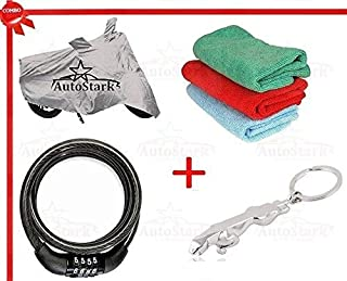 AutoStark AK-C195-SLR-129 Bike Body Cover, Tyre LED Light and Cleaning Gloves for Yamaha Fascino (Set of 3, Silver and Blue)