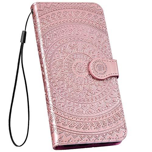 Ysimee kompatibel mit Huawei P30 Pro Hülle 3D Bookstyle PU Leder Schutzhülle Wallet Flip Ledertasche Case Handyhülle Lederhülle Handy Tasche Schale [Standfunktion] [Kartenfach], Mandala Roségold