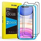 SPARIN Protector de Pantalla Compatible con iPhone 11 y iPhone XR, Cristal Templado con Marco de Alineación, 2 Piezas