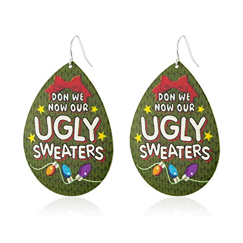 Unijew 2020 Fashion Christmas Green Water-drop Type Metal Earrings for Girls Women, Dangle Earrings, Engraved with ' Don We Now Our Ugly Sweaters ', Cute Christmas Gift for Women