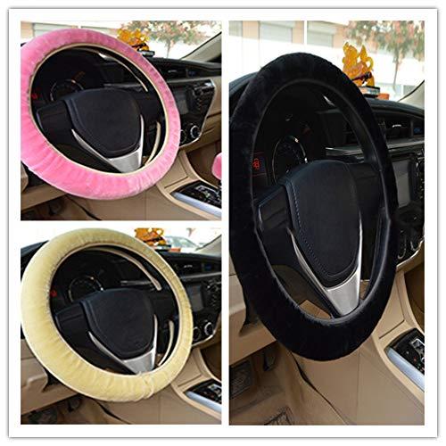 CCALN stuurwieldop 36 38cm Algemeen Knuffel Steering Cover Set Auto styling Charm Warm Lange Wol Blauw Pluche Stuurwiel Cover voor Auto Accessoires roze