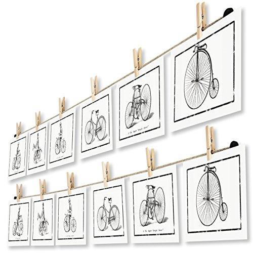 LeTOMA - Corde-Photos avec Pinces à Linge - 2x125 cm de Corde en Chanvre Naturel et 2x10crochets en Bois Naturel pour Mettre Vos Photos et Cartes Postales dans la lumière - Montage Rapide et Facile